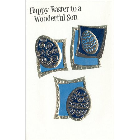 Freedom Greetings 3 Embossed Silver Foil Eggs: Son Easter