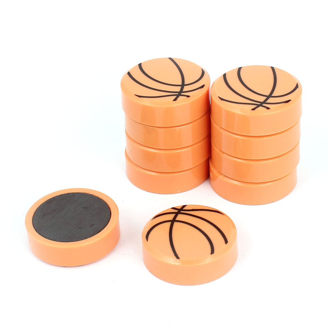 10pcs Basketball Style Plastic Fridge Magnet Sticker Refrigerator Decor Orange