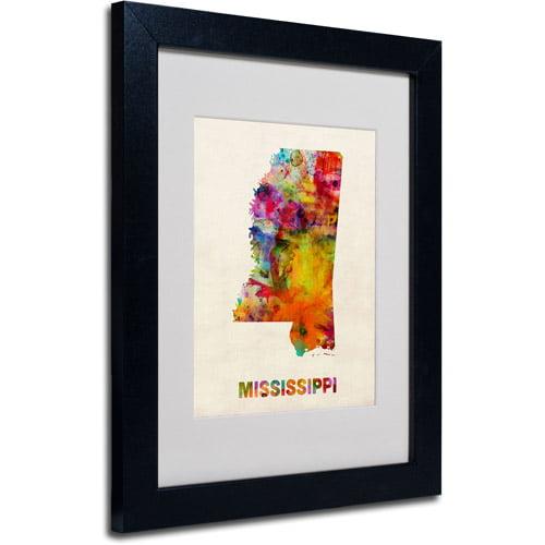 """Trademark Fine Art """"Mississippi Map"""" Matted Framed Art by Michael Tompsett, Black Frame"""