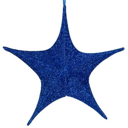 Hanging Star Decoration, Christmas Decoration Star Decoration Party, 4th of July Star Home Decorations, Ultra Lightweight, Fabric Covered, Fold Flat Metal Frame (16 Inch, Blue Metallic Mesh) (Sleigh Hanging Decoration)