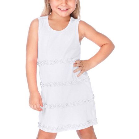 Kavio P1C0575 Girls 3-6X A-Line Lettuce Edge Ruffles Scoop Neck Sleeveless -