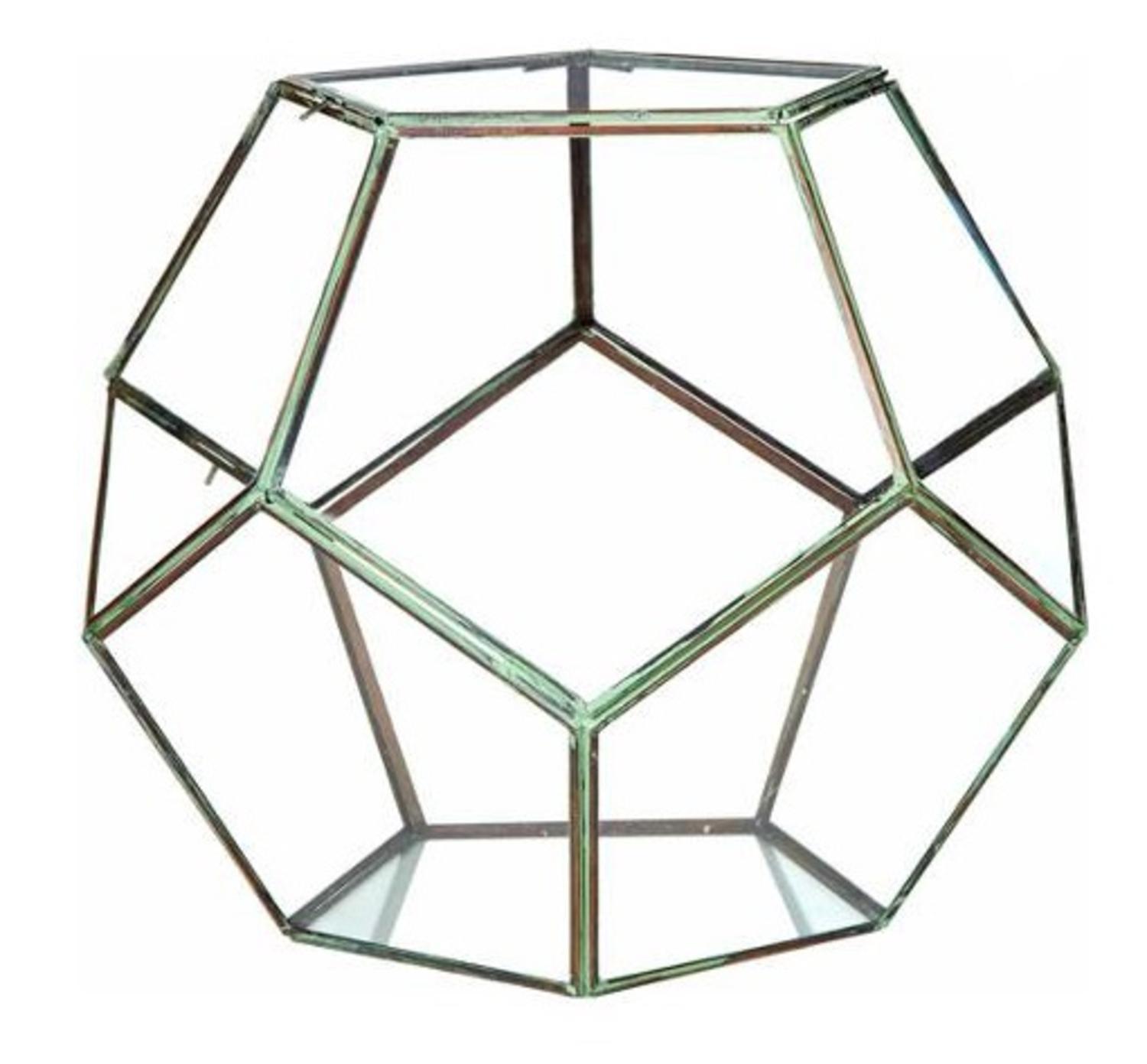 """14"""" Contemporary Table Top Glass Geodesic Terrarium with Double Hinged Doors"""