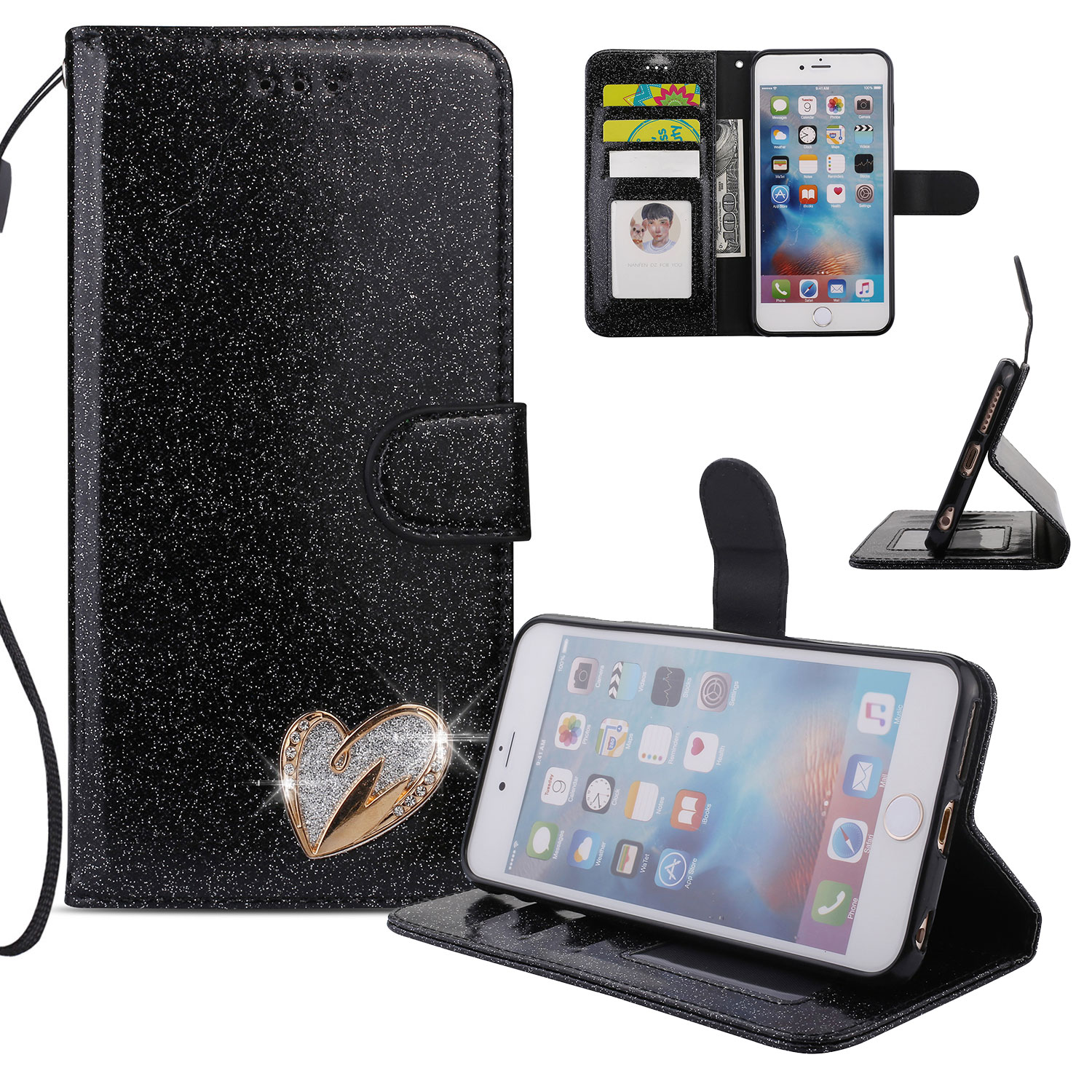 iPhone 6S Plus Case Wallet, iPhone 6 Plus Case, Allytech Glitter Folio Kickstand with Wristlet Lanyard Shiny Sparkle Luxury Bling Card Slots Slim Cover for Apple iPhone 6 Plus/ 6S Plus (Black)