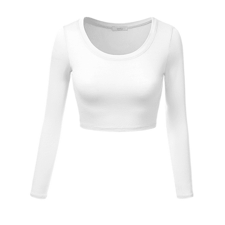 78417244617217 Simlu Womens Crop Top Round Neck Basic Long Sleeve Crop Top with Stretch -  USA