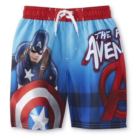c6a364e2a56d1 Marvel - Marvel Captain America Boys Red/White/Blue Swim Trunks Board Shorts  - Walmart.com