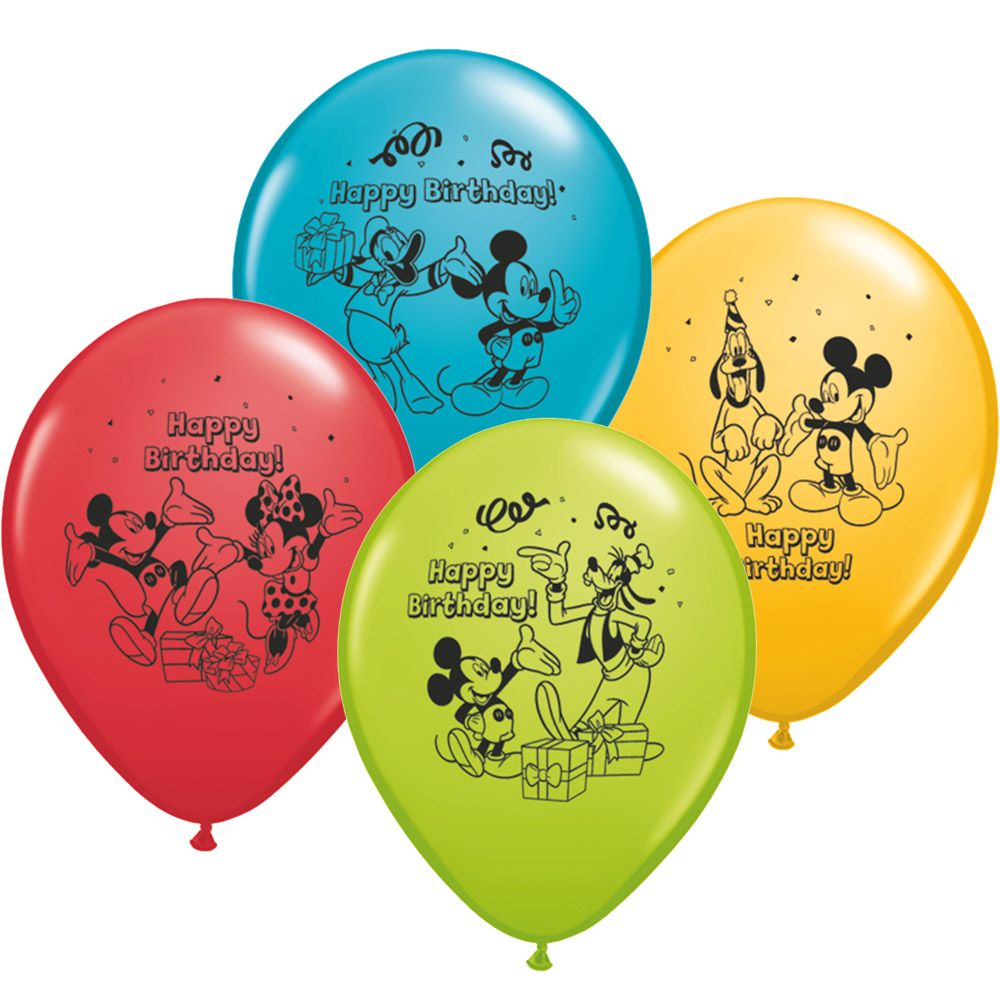 """Mickey Mouse 12"""" Latex Balloons (6 Pack) - Party Supplies"""