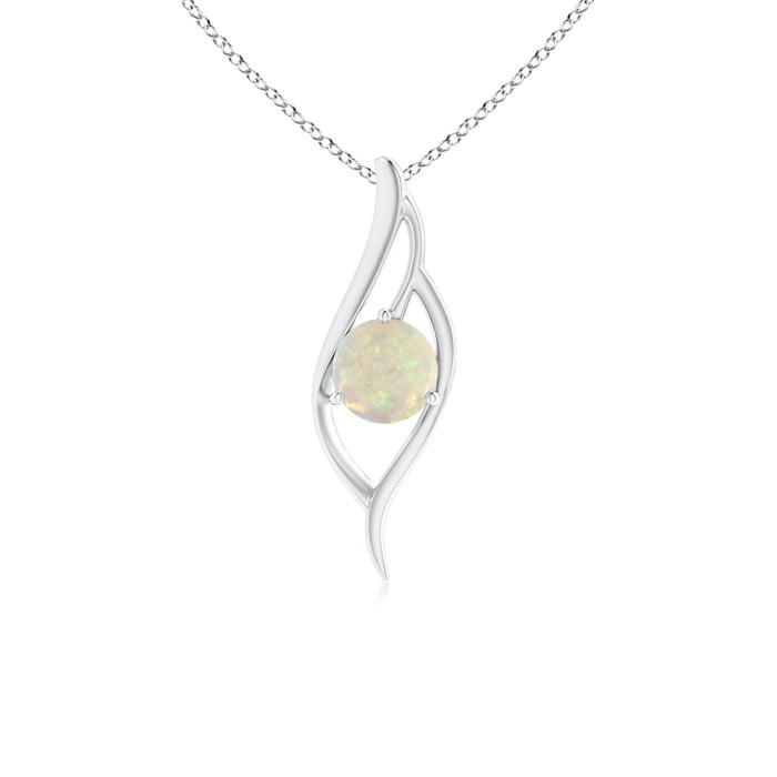 Angara Opal Angel Wing Pendant in Platinum - October Birthstone Pendant bipAs