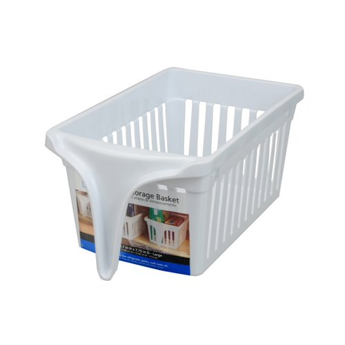 Mainstays Large Storage Basket with Handle, White