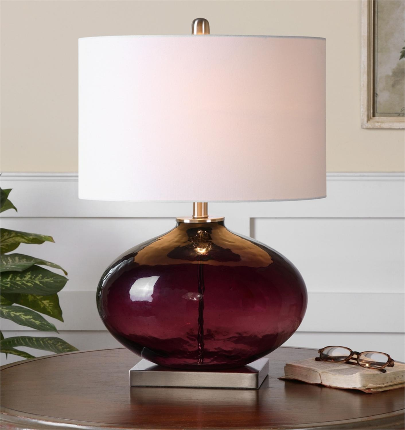 "24"" Oval Purple Glass with Oval White Linen Harback Shade and Brushed Nickel Details Table Lamp"