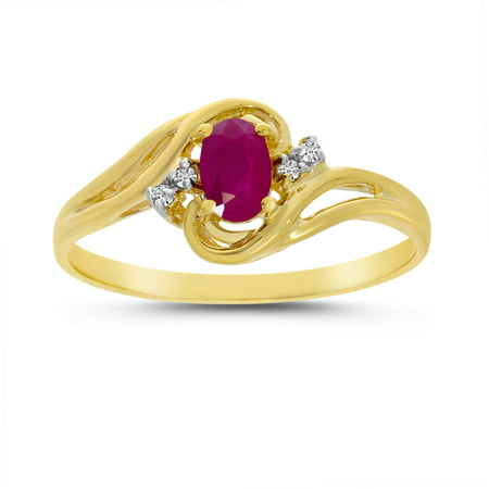 14k Yellow Gold Oval Ruby And Diamond Ring Oval Shape Ruby Ring