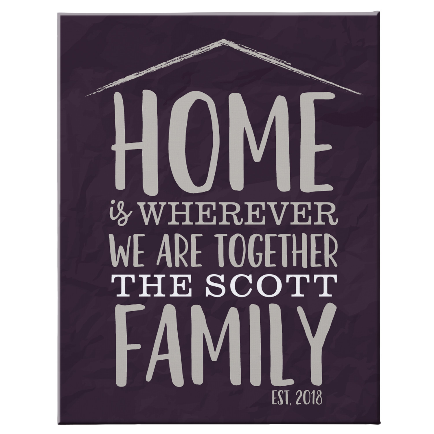 Personalized Home Is Together Canvas - Available in 2 Sizes and 2 Colors
