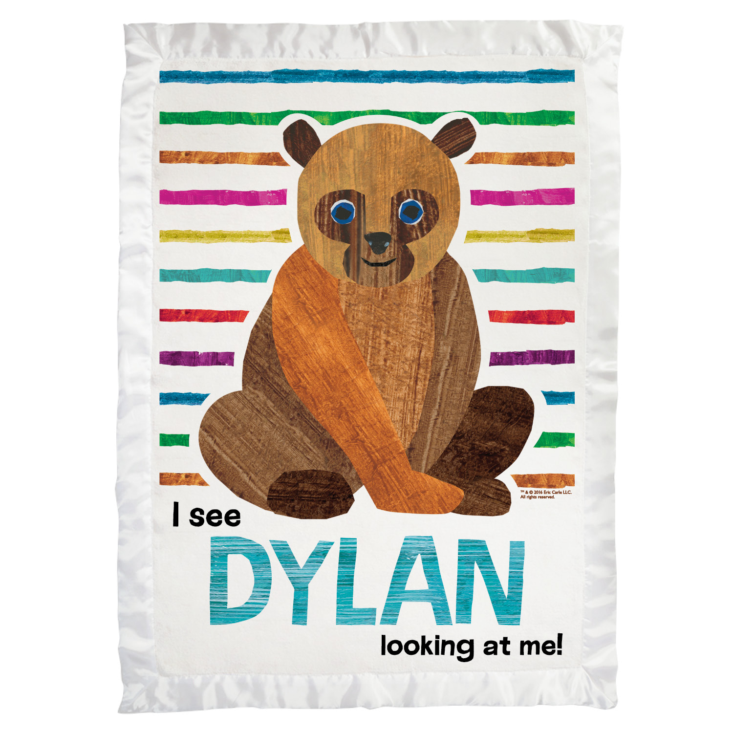 Brown Bear Super Soft Striped Personalized Baby Blanket
