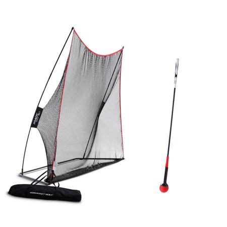 Rukket Haack Golf Net 3pc Bundle with Flexible Golf Swing Plane Tempo Trainer and Carry Bag, Practice Hitting/Driving Indoors, at Home or Backyard ()