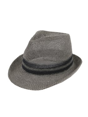 1869c523 Product Image WITHMOONS Straw Fedora Hat Summer Trilby Banded For Men Women  CR61184 (Grey)