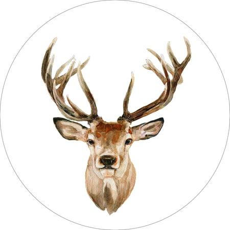Deco Deer (Buck Deer Home Wall Shelf Decor Animal Decorations Watercolor Round Sign - 18 Inch )