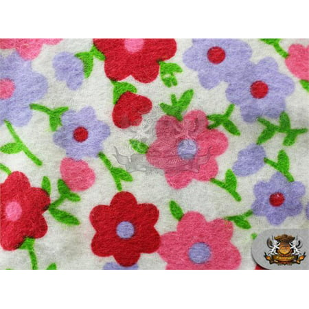 Flannel Daisies - Cotton Flannel DAISY RED Fabric / 45