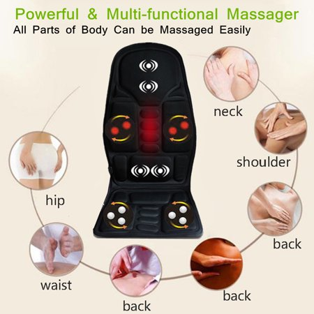 Massage Mat with 8 Vibrating Motors and 3 Therapy Heating pad Full Body Massager Cushion for Relieving Back Lumbar Leg (10 Motor Massage Mat)