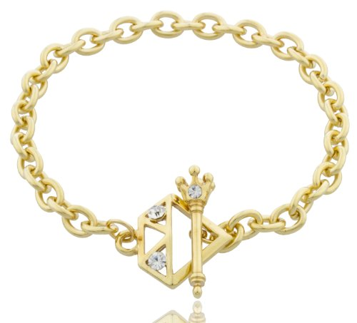 7.5 Inch Crown Toggle Link Bracelet with Stones (Goldtone)