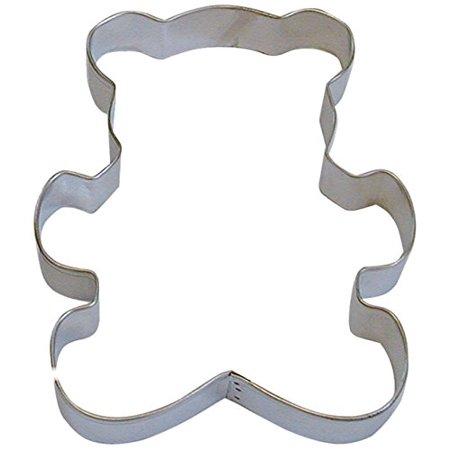 CybrTrayd R&M Teddy Bear Tinplated Steel Cookie Cutter, 5-Inch, Silver, Bulk Lot of 12