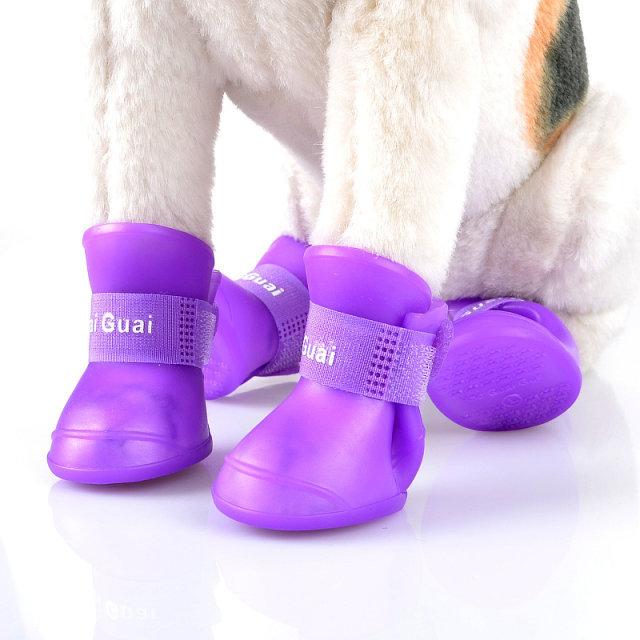 4PCS Cute/Fashionable Color Protective Waterprrof Rubber Dog Boots/Rain Shoes