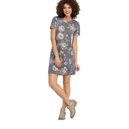 8135b92b5f2 maurices - Faded Floral T-Shirt Dress - Walmart.com