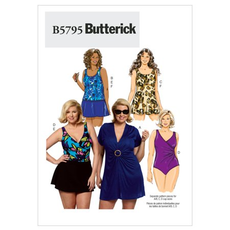 Butterick Pattern Womens Cover Up  Top  Swimdress  Swimsuit  Skirt And Briefs  Rr  18W  20W  22W  24W