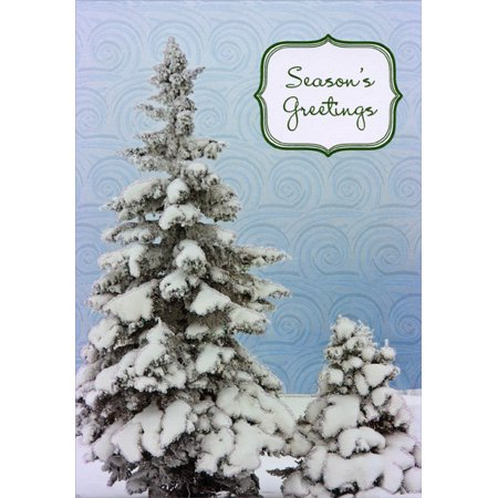 Designer Greetings Evergreen Trees and Swirls Box of 18 Winter Christmas Cards