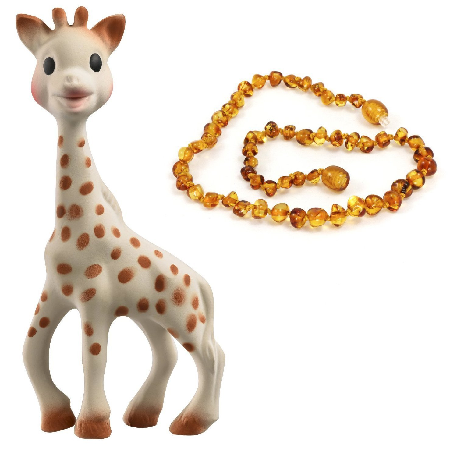 Vulli Sophie the Giraffe Teether & Small Amber Teething Necklace