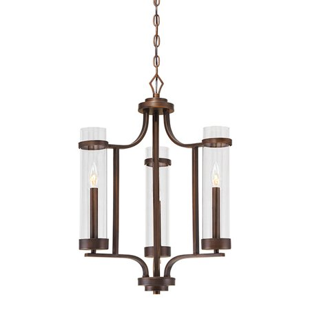 """Millennium Lighting 1983 Rubbed Bronze Milan 20"""" Wide 3 Light Taper Candle Style Chandelier with Clear Cylinder Shades"""