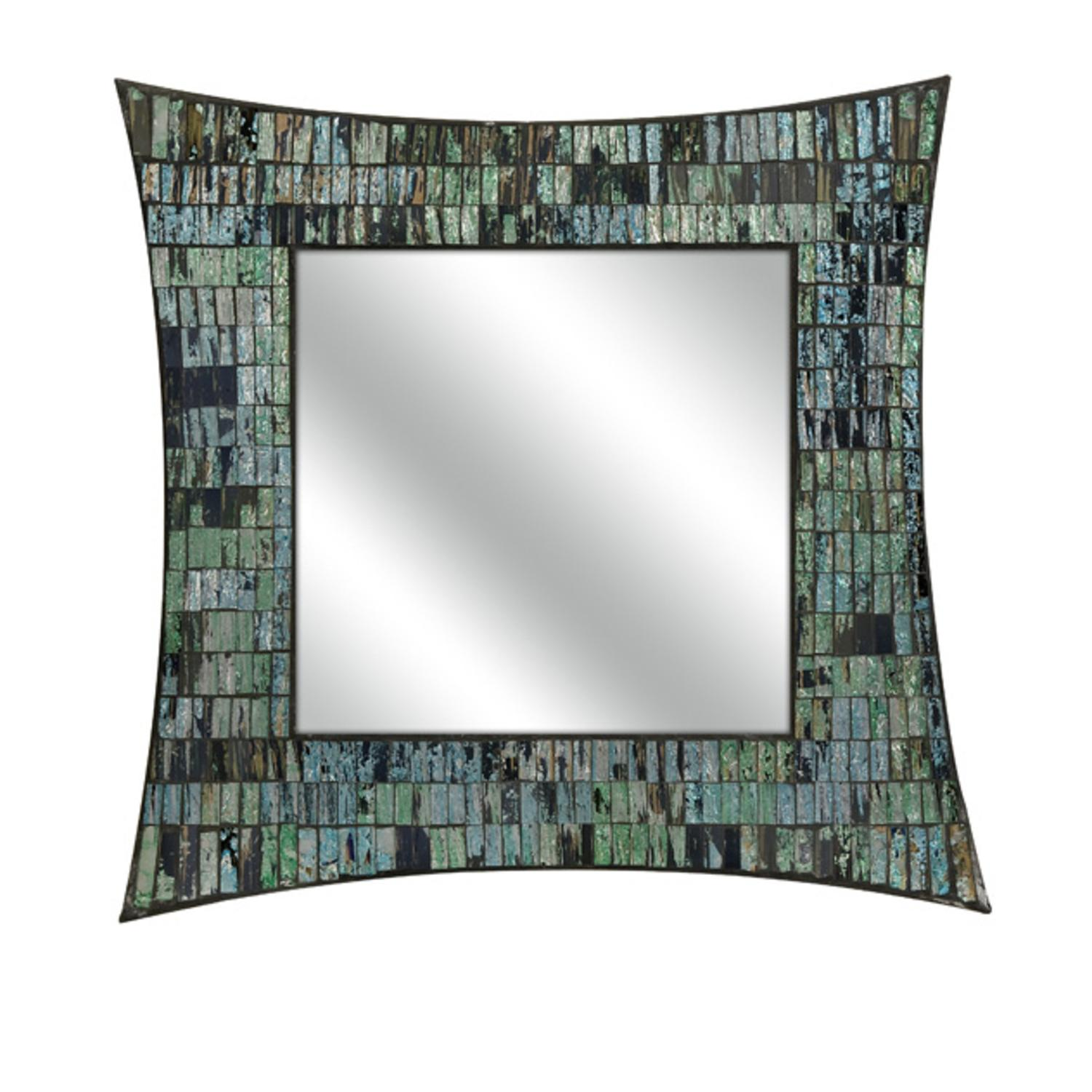 "20"" Artemis Green and Blue Mosaic Glass Decorative Square Wall Mirror"