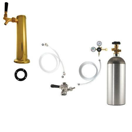 1 Faucet Tower Kegerator Conversion Kit   Brass Tower   Us Sankey D System   5Lb Co2 Tank