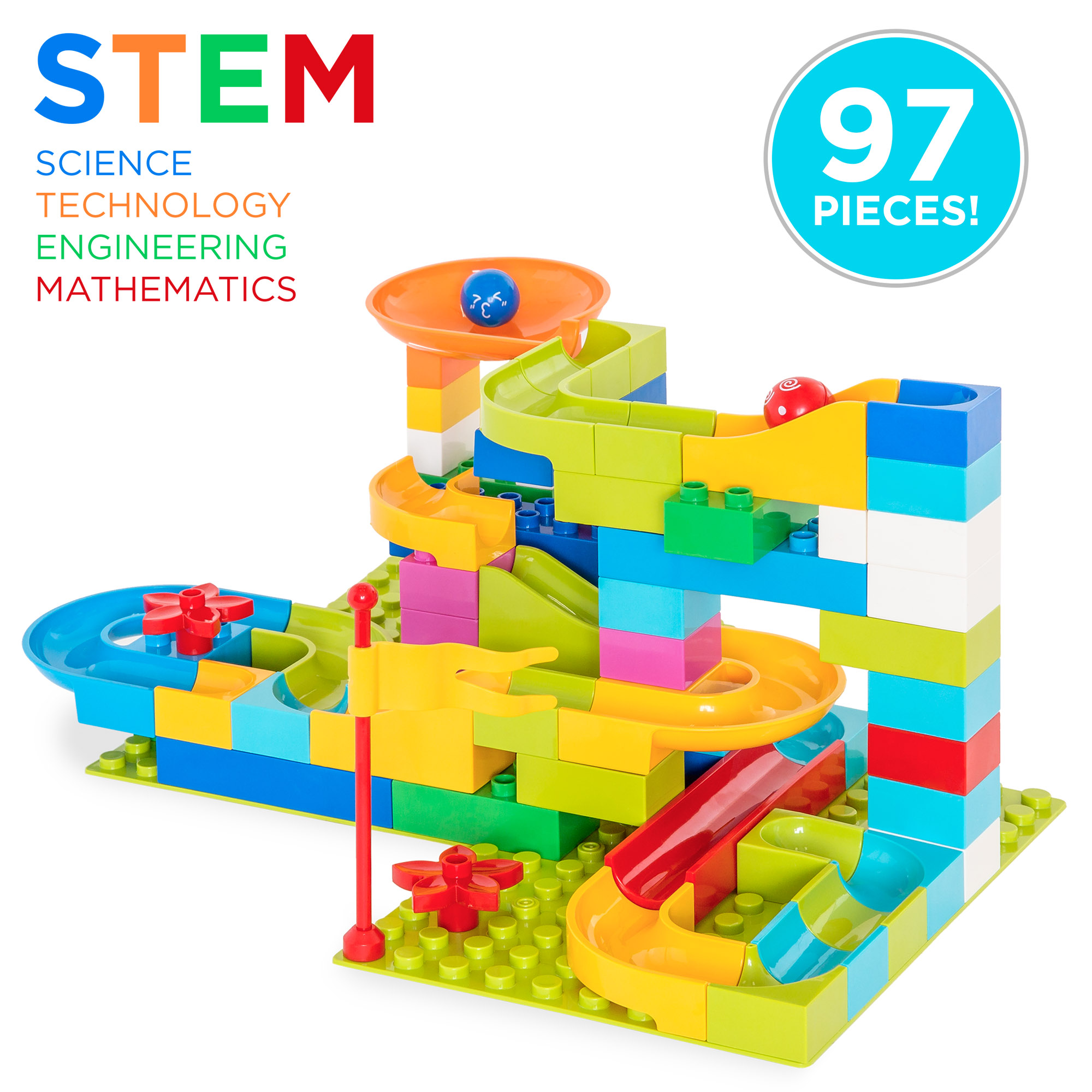 Best Choice Products 97-Piece Kids Create Your Own Marble Maze Run Racetrack Puzzle Construction Game Set w/ Building Blocks, 4 Balls - Multicolor
