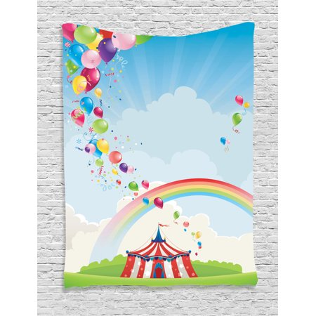 Circus Decor Wall Hanging Tapestry, Circus, Rainbow And Balloons Freedom Traveling Cloudscape Festival, Bedroom Living Room Dorm Accessories, Gift Ideas, By Ambesonne - Circus Ideas