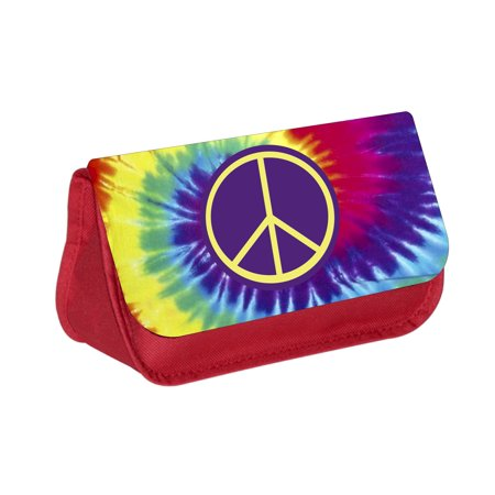 Tie Dye Bags (Tie Dye Purple Peace Symbol -  Red Cosmetic Case - Makeup Bag - with 2 Zippered)