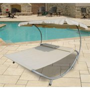 Outsunny Double Wide Patio Pool Hammock Bed Lounger w/ Sun Shade - Cream