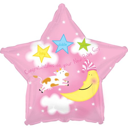 Girl Cow Jumps Over the Moon Mylar Balloon, - Moon And Stars Baby Shower Decorations