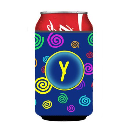 Letter Y Initial Monogram - Blue Swirls Can or Bottle  Hugger - image 1 de 1