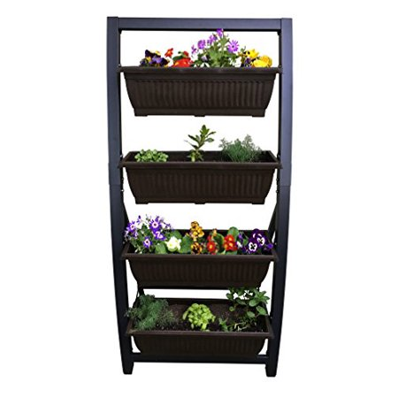 6 Ft Vertical Garden by Outland Living, Freestanding Raised Elevated Bed Planter, includes 4 28 L Bins for Indoor/Outdoor Use
