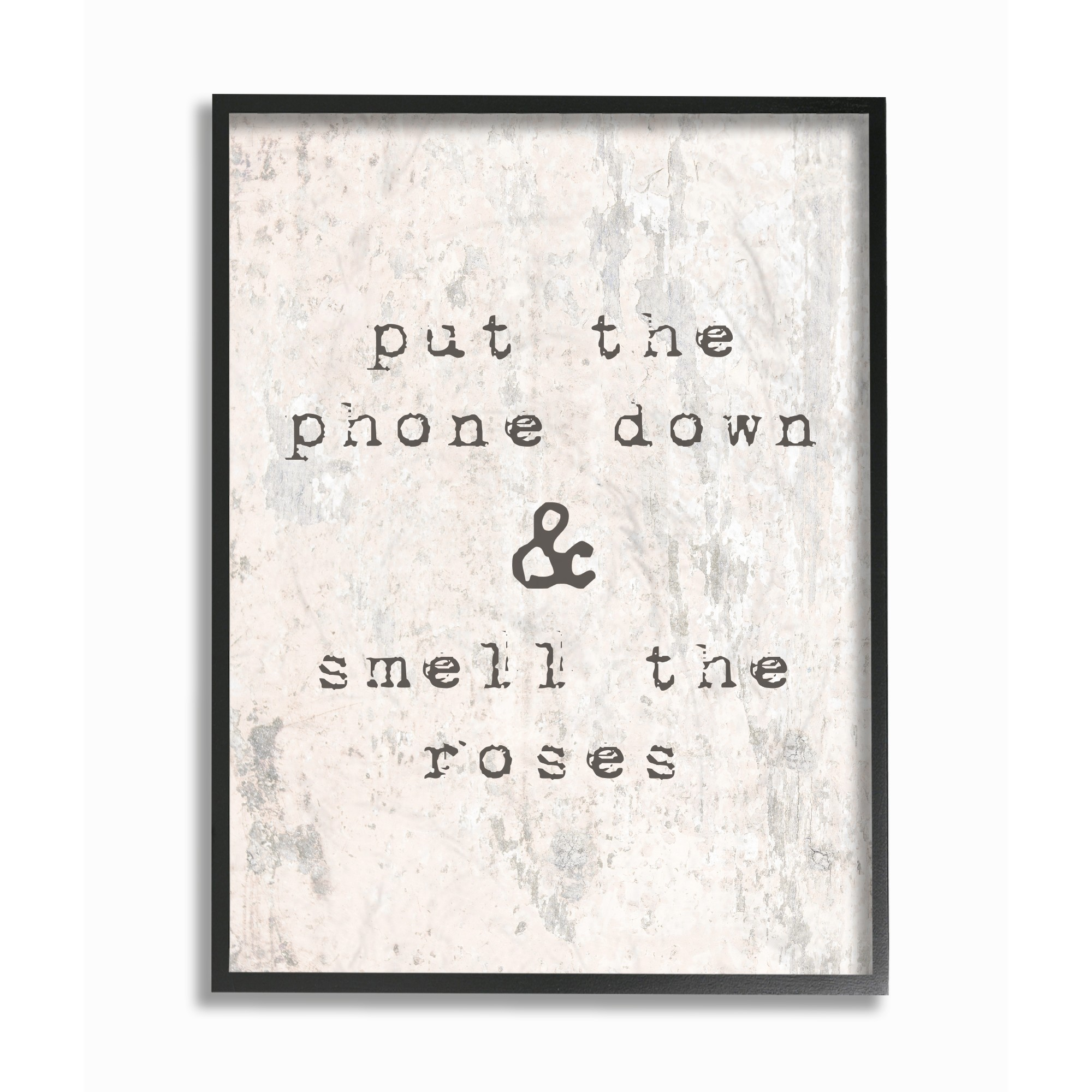 The Stupell Home Decor Collection Put Phone Down Smell Roses Typography Framed Giclee... by Stupell Industries