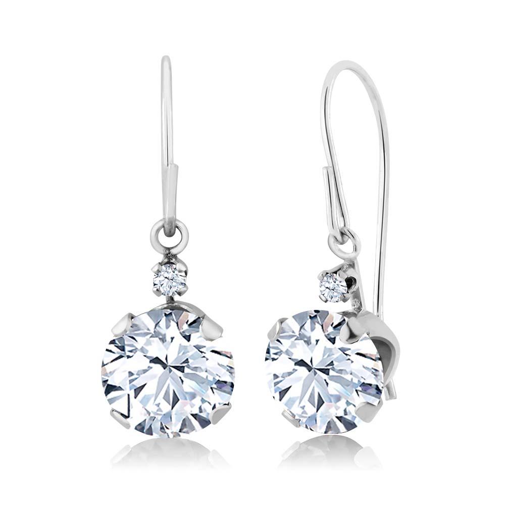 2.04 Ct Round White Topaz 14K White Gold Earrings