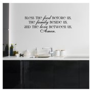 """Bless the Food Before Us, the Family Beside Us, and the Love Between Us, Amen Vinyl Lettering Wall Decal (Style A 12.5""""H x 35.5""""L, Black)"""