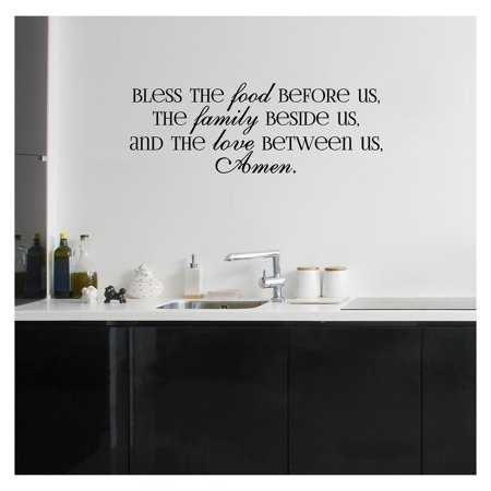 Bless the Food Before Us, the Family Beside Us, and the Love Between Us, Amen Vinyl Lettering Wall Decal (Style A 12.5