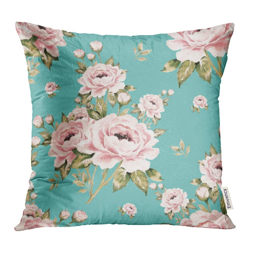 CMFUN Colorful Flower Bouquets Roses 4 Pink Floral Vintage Leaf Beautiful Garden Pillowcase Cushion Cases 20x20 inch