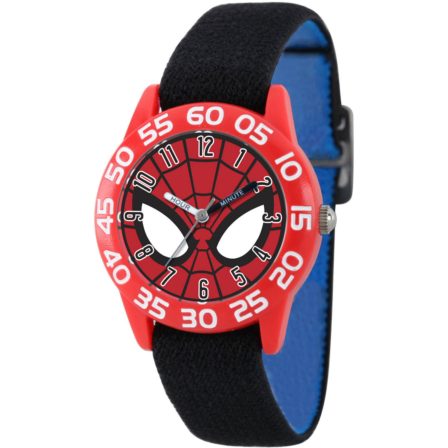 Marvel's Ultimate Spider-Man Boys' Red Plastic Time Teacher Watch, Reversible Black and Blue Nylon Strap