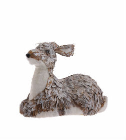 "9"" Natural Fiber Christmas Female Reindeer Decoration"
