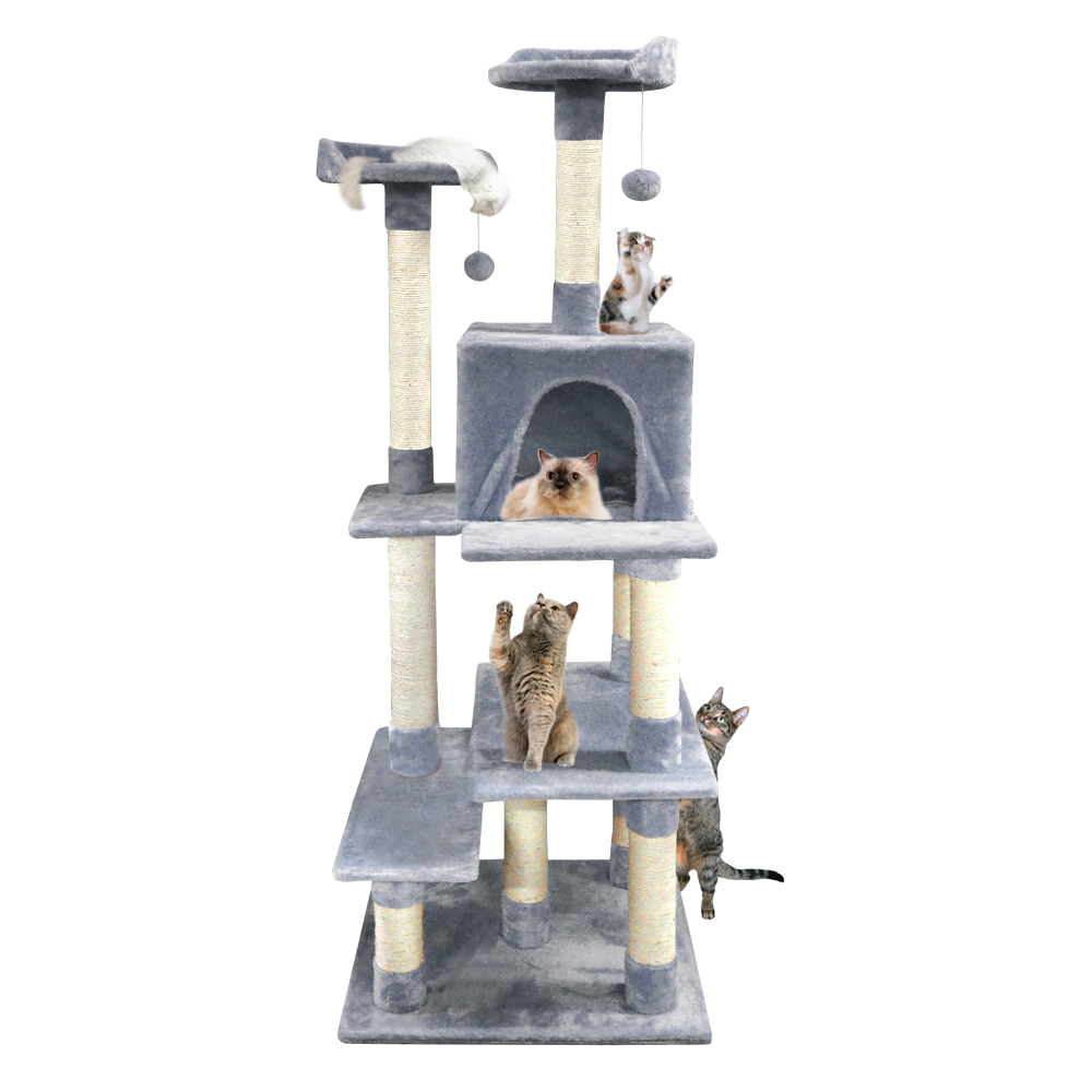 68 Inch Heavy Duty Cat Scratching Post Tree Gym House Condo Furniture Scratcher Grey by