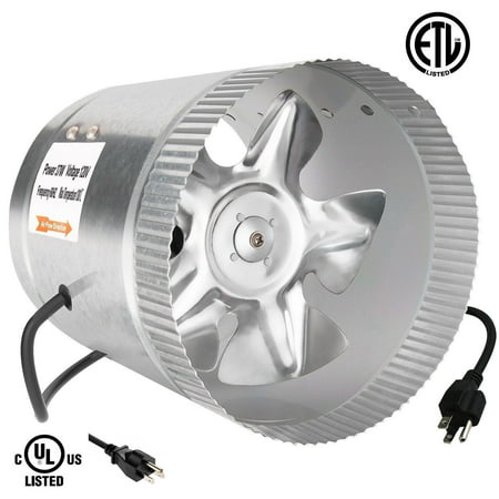 Inductor In Line Duct Fan (iPower 6 Inch 240 CFM Booster Fan Inline Duct Vent Blower for HVAC Exhaust and Intake 5.5' Grounded Power)