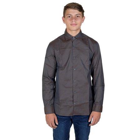 Hickey Freeman Mens Long Sleeve Button Down Shirt  Medium, Brown