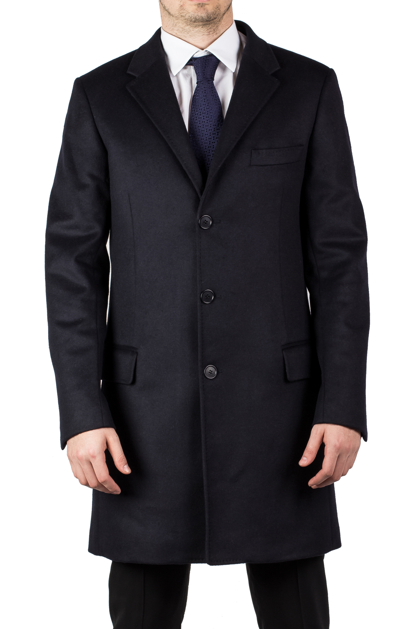 Luciano Barbera Men's Wool Cashmere 3 4 Length Coat Jacket Navy Blue by Luciano Barbera