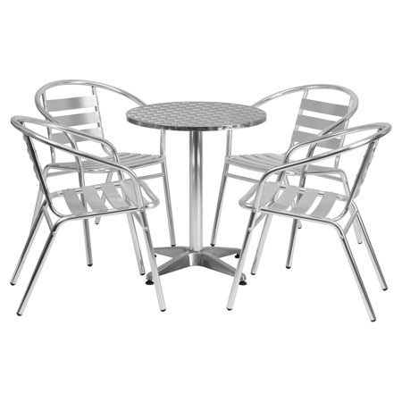 Aluminum Slat Table - Flash Furniture 23.5'' Round Aluminum Indoor-Outdoor Table with 4 Slat Back Chairs